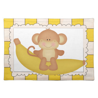 Banana Monkey cartoon place mat Cloth Place Mat