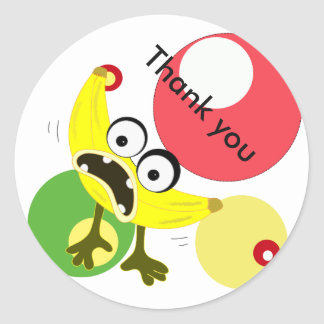 Banana Monster fruit illustration Classic Round Sticker