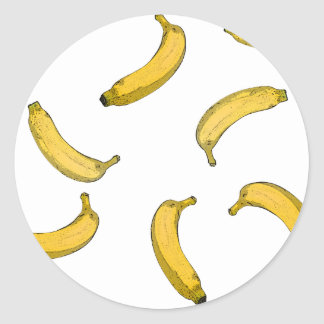 Banana pattern sketch version classic round sticker