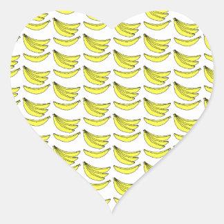 Banana Pattern. Heart Sticker