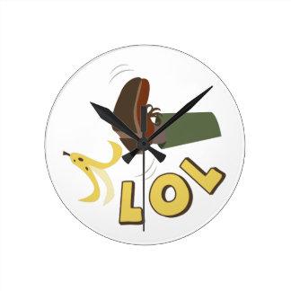 Banana Peel LOL Round Clock