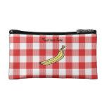 Banana red picnic checkers cosmetics bags