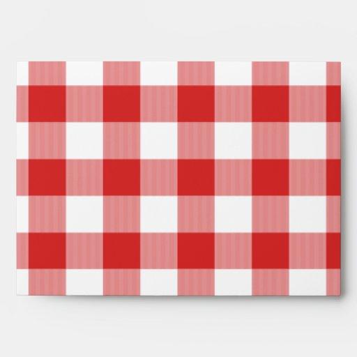 Banana red picnic checkers envelopes
