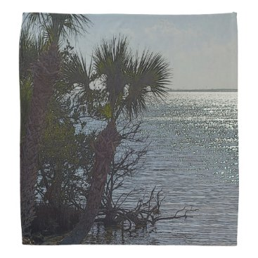 Beach Themed Banana River Palm Trees Painterly Bandana