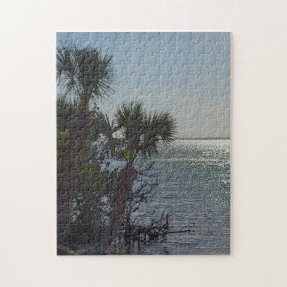 Banana River Palm Trees Painterly Jigsaw Puzzle
