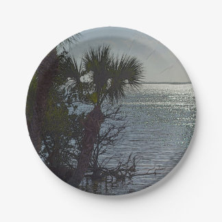 Banana River Palm Trees Painterly Paper Plate