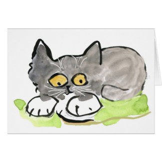 Banana Slug and Tiny Gray Kitten Card