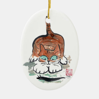Banana Snail & Kitten, Sumi-e Ceramic Ornament