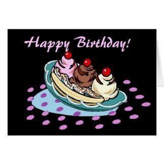 Banana Split Dessert Black Pink Birthday Card