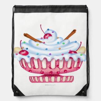 BANANA SPLIT ICE CREAM CARTOON Drawstring Backpack