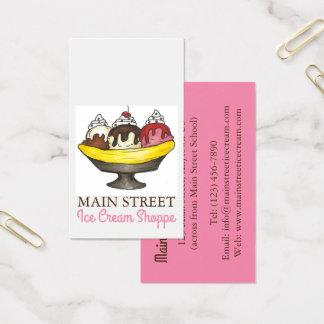 Banana Split Sundae Ice Cream Shoppe Shop Food Business Card