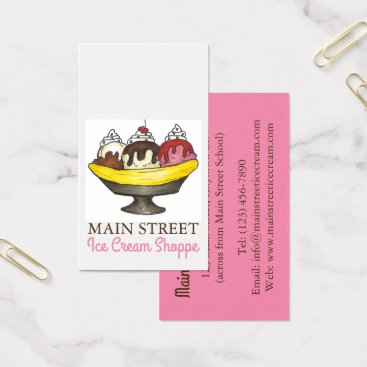 Professional Business Banana Split Sundae Ice Cream Shoppe Shop Food Business Card