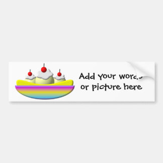 Banana Split with whipped cream and cherries Bumper Sticker