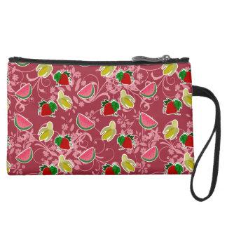 Banana Strawberry Watermelon Pattern Suede Wristlet Wallet