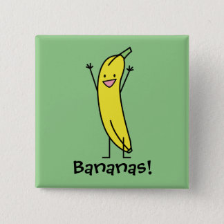 Banana that's happy, celebrating and cheering pinback button