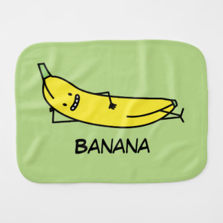 Banana that's smiling, laying down and relaxing baby burp cloth