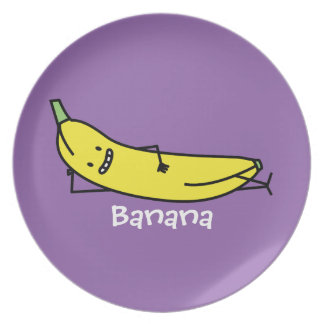 Banana that's smiling, laying down and relaxing dinner plate
