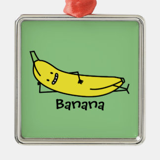 Banana that's smiling, laying down and relaxing metal ornament
