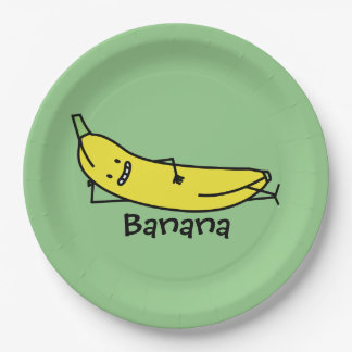 Banana that's smiling, laying down and relaxing paper plate
