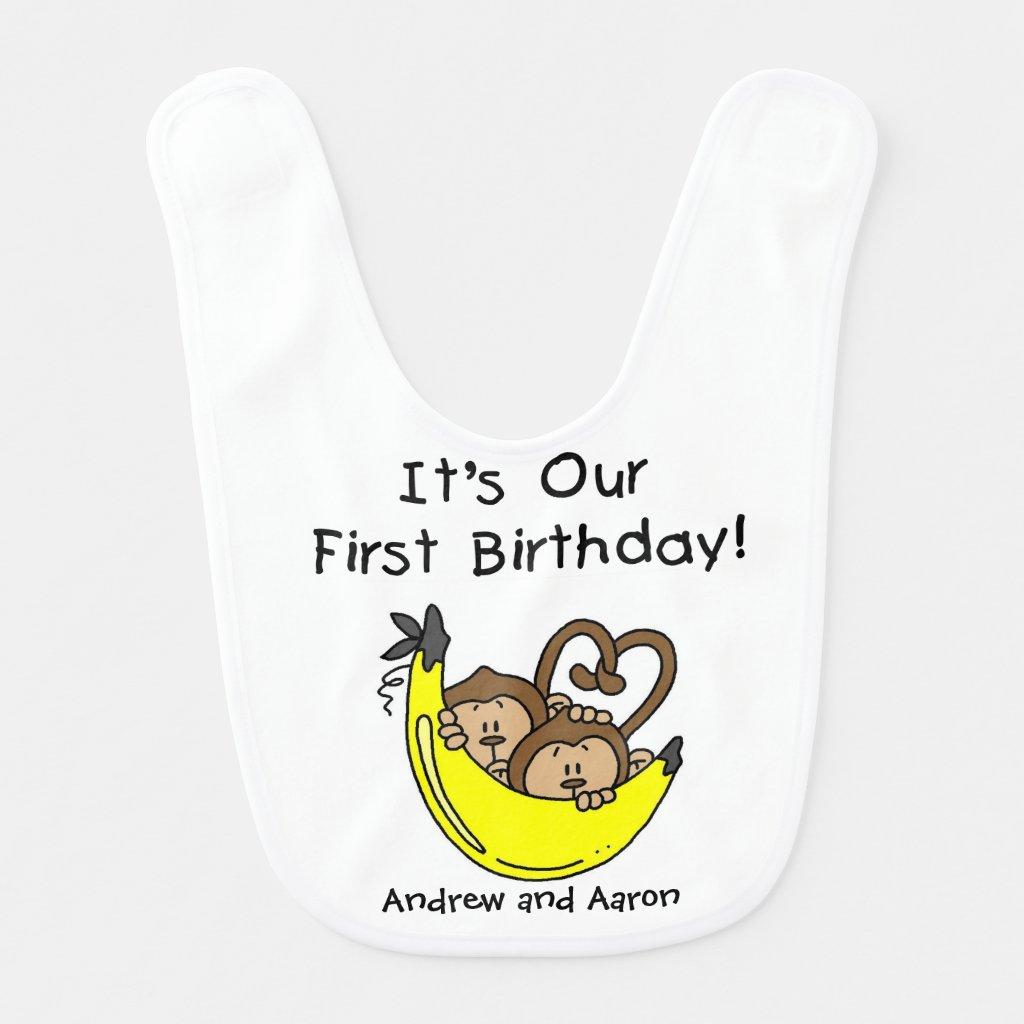 Banana Twin Boys First Birthday Bib