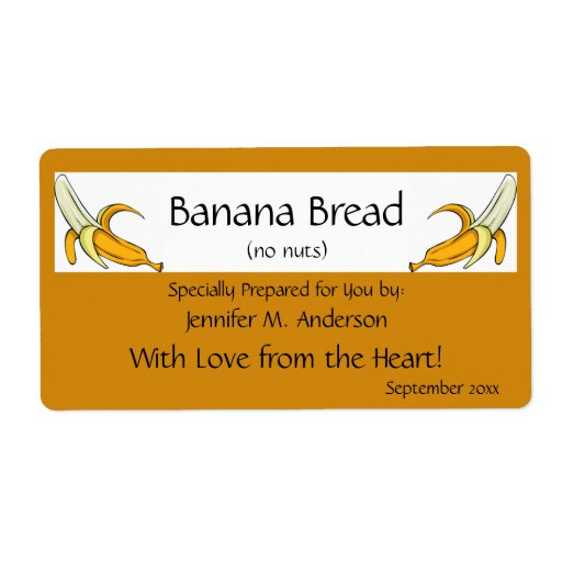 banana yellow framed bananas homemade food personalized With homemade shipping label