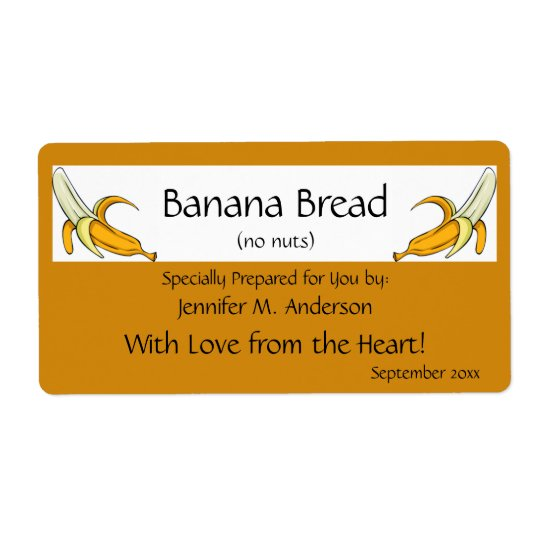 Banana Yellow Framed Bananas Homemade Food Label