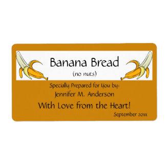 Banana Yellow Framed Bananas Homemade Food Shipping Label