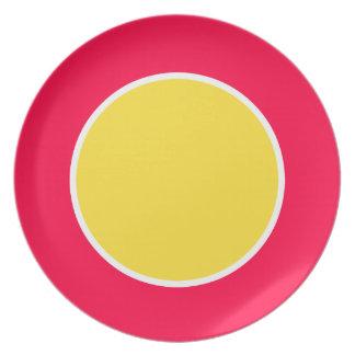 Banana Yellow on Tropical Flower Single Dot Dinner Plate