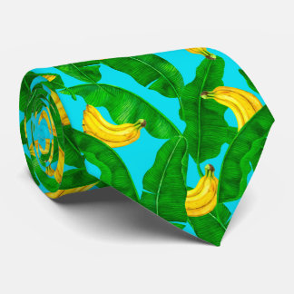 Bananas and leaves watercolor design neck tie