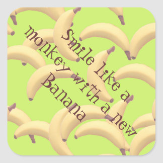 Bananas illustration square sticker