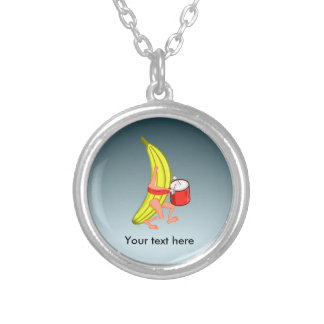 Bananas Playing The Percussion While Marching Round Pendant Necklace