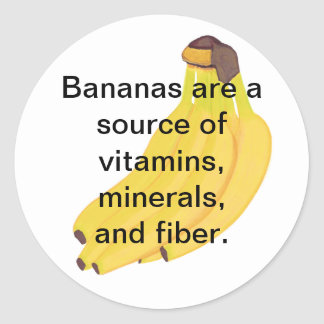 Bananas Source of Vitamins Minerals Fiber Stickers