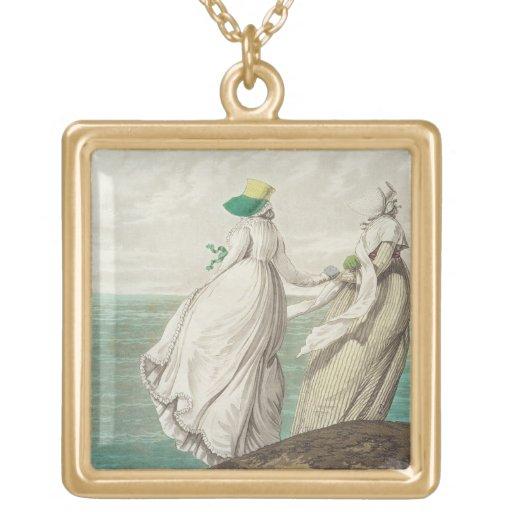 """Bañando el lugar, de la """"galería de la moda"""", 1797 colgante cuadrado"""