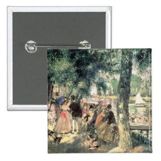 Bañándose en el Sena o, La el Grenouillere, c.1869 Pin Cuadrado