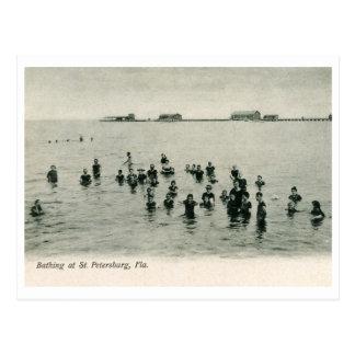 Bañándose en St Petersburg, vintage 1906 de FL Tarjeta Postal