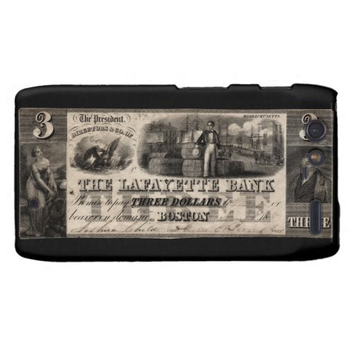 Banco 1837 de Lafayette nota de tres dólares Droid RAZR Funda