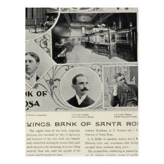 Banco de ahorros de Santa Rosa, California Tarjeta Postal