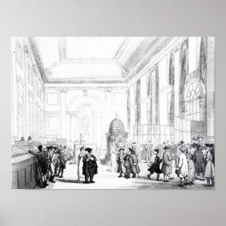Banco de Inglaterra, gran pasillo, de Ackermann Póster