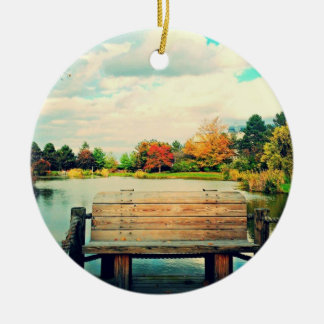 Banco de la orilla del lago adorno redondo de cerámica