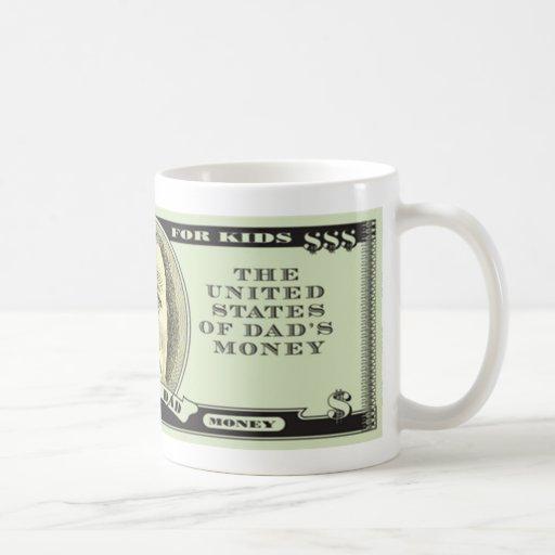 Banco de las tazas de café del día de padre del