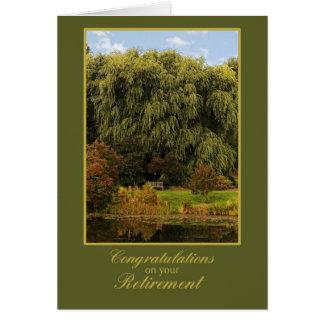 Banco de madera, parque, enhorabuena del retiro tarjetas