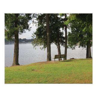 Banco de parque en la foto del meridiano del lago fotografías