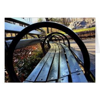 Banco de parque único en Central Park NYC Tarjeton