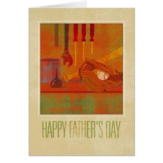 Banco de trabajo del día de padre y guante de tarjeta de felicitación