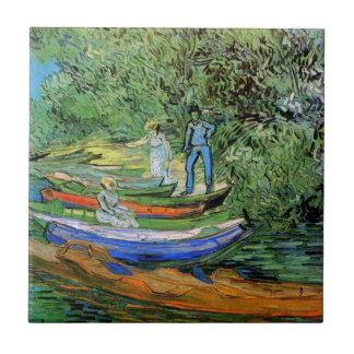 Banco de Van Gogh de Oise en Auvers, bella arte Azulejo Cuadrado Pequeño