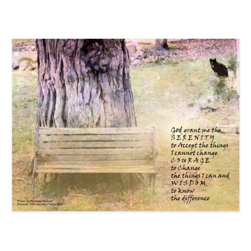 Banco del rezo de la serenidad, árbol, postal del