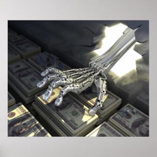 Banco del robo de los piratas informáticos póster