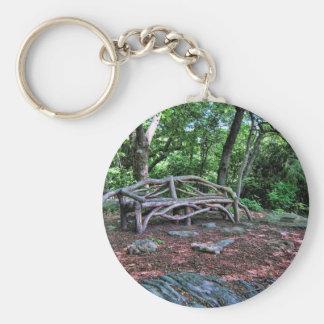 Banco en Central Park, NYC de la rama de árbol Llavero Redondo Tipo Pin