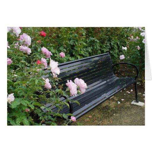 Banco en los rosas tarjetón