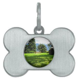 Banco en un prado con la piedra placas mascota